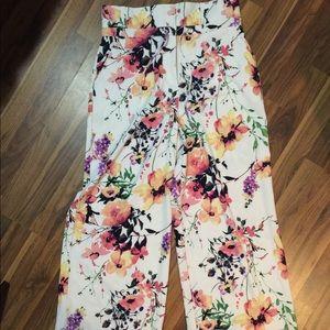Wide leg floral palazzo pants